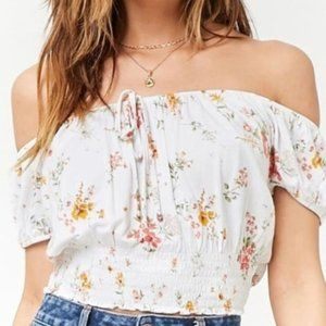 FOREVER 21 WHITE FLORAL OFF SHOULDER CROP TOP M